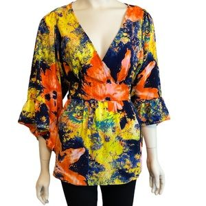 BETSEY JOHNSON Multicolored Flutter Sleeve Top M